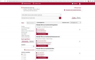 Screenshot www.infoservice.sozialministerium.at
