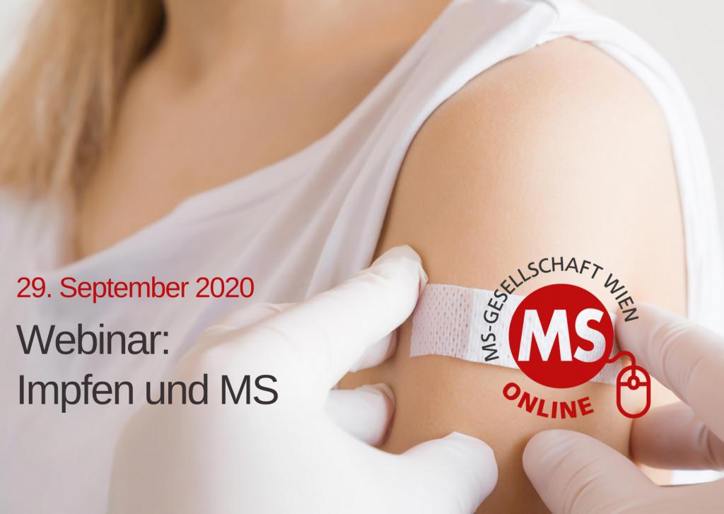 Bild: Nahaufnahme Frau mit Pflaster auf Arm, Text: 29. Seotember 2020, Webinar Impfen und MS, Credit: Canva