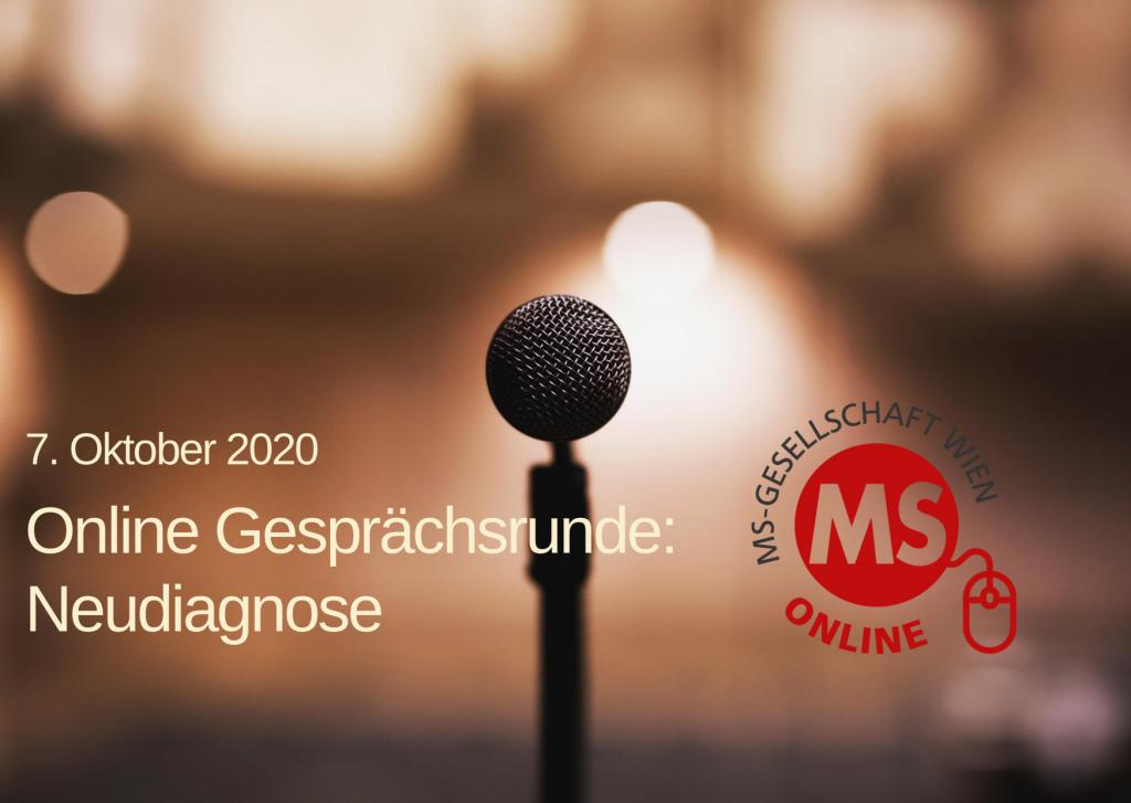 Bild: Mikrophon, Text: 7. Oktober 2020, Online-Gesprächsrunde Neudiagnose, Credit: Canva