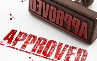 """Stempel mit Schriftzug """"approved"""""""