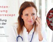 Bild: Ärztin telefoniert, Text: Medikamenten-Verschreibung ohne Papierrezept. Rezept-Ausstellung ohne Besuch in der Kassenordination