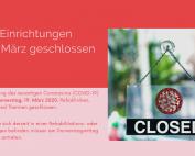 """Illustration mit Schild, auf dem """"Closed"""" steht, daneben Text: """"Zur Eindämmung des neuartigen Coronavirus werden ab Donnerstag, 19. März 2020, Rehakliniken, Kuranstalten und Thermen geschlossen."""""""