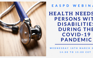 Bild mit Stethoskop, daneben Text: EASPD Webinar: Health needs of persons with disabilities during the COVID-19 pandemic