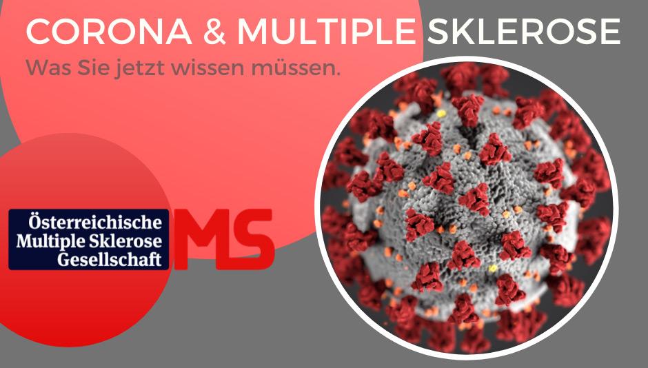 Illustration: rosa-grauer Hintergrund, Abbildung Coronavirus, Text: Neuartiges Coronavirus und Multiple Sklerose. Was Sie jetzt wissen müssen.
