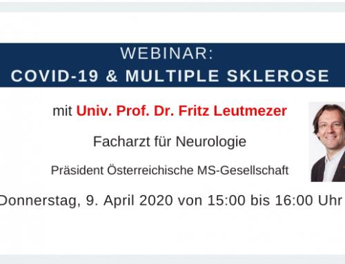 """Webinar """"COVID-19 und MS"""" mit Univ. Prof. Dr. Fritz Leutmezer"""