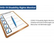 Illustration: Klemmboard mit Fragebogen, Text: COVID-19 Disability Rights Monitor-Initiative erforscht Erfahrungen von Menschen mit Behinderungen, Foto: 472301, Pixabay