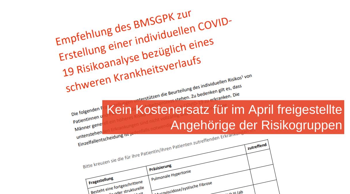 Illustration mit Schreiben des BMSGPK, davor Text: Kein Kostenersatz für im April freigestellte Angehörige der Risikogruppen