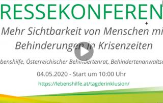 """Screenshot Pressekonferenz """"Mehr Sichtbarkeit von Menschen mit Behinderungen in Krisenzeiten"""", 4. Mai 2020"""