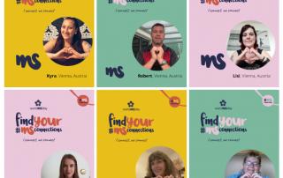 bunte Plakate mit Personen, die ihre Hände zu einem Herz formen, Text: find your MS Connections
