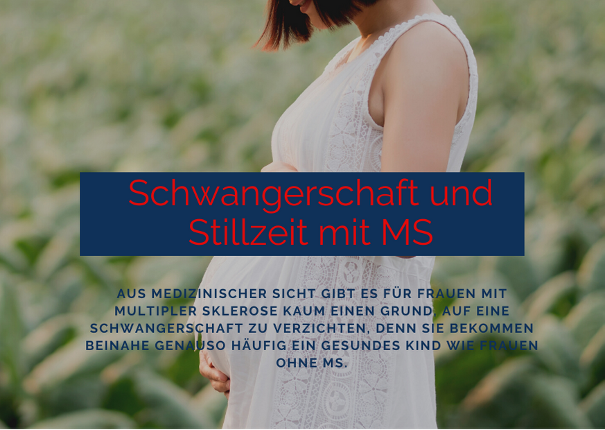 Bild: schwangere Frau in Wiese, Text: Schwangerschaft und Stillzeit mit MS