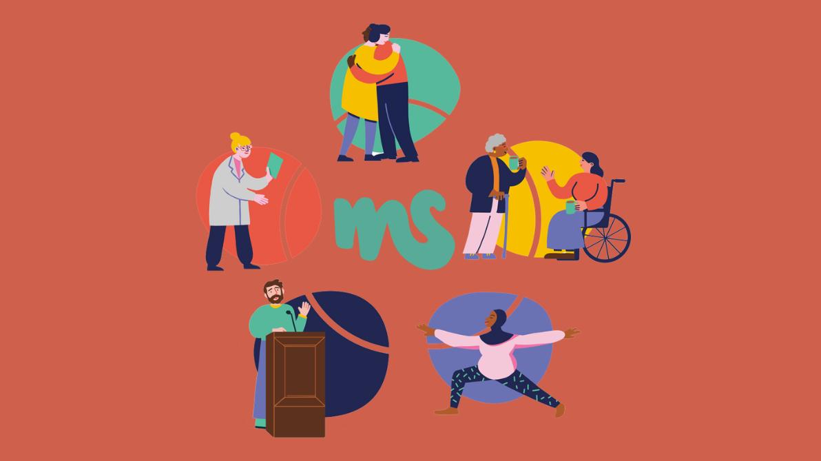 lachsfarbenes Viereck, davor Illustration mit Menschen, die miteinander in Verbindung treten, Credit: MSIF