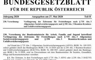 Verlängerung des Zeitraums für Freistellungen nach § 735 Abs. 3 ASVG und § 258 Abs. 3 B-KUVG vom 1. Juli 2020