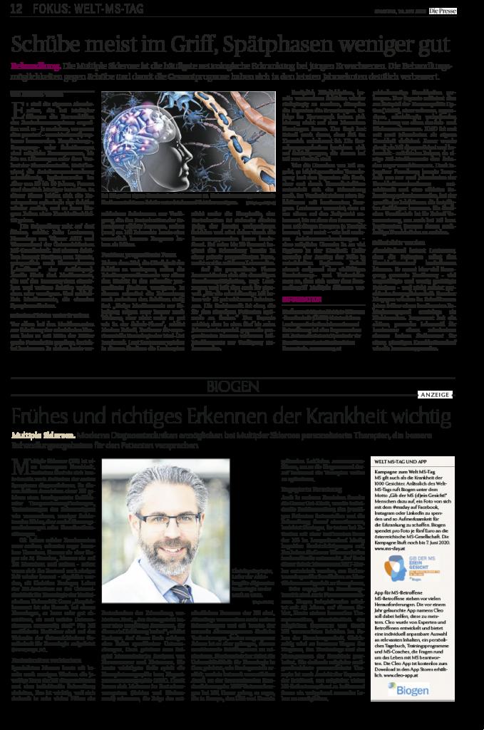 Fokus: Welt-MS-Tag. Die Presse, 30. Mai 2020
