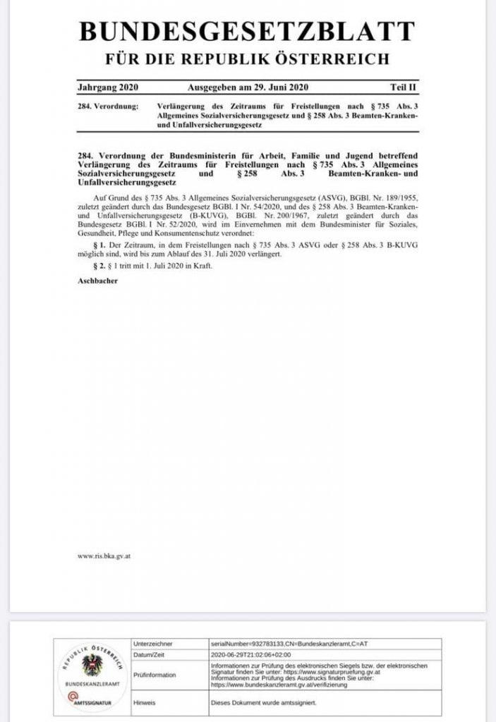 Verlängerung des Zeitraums für Freistellungen nach § 735 Abs. 3 ASVG und § 258 Abs. 3 B-KUVG