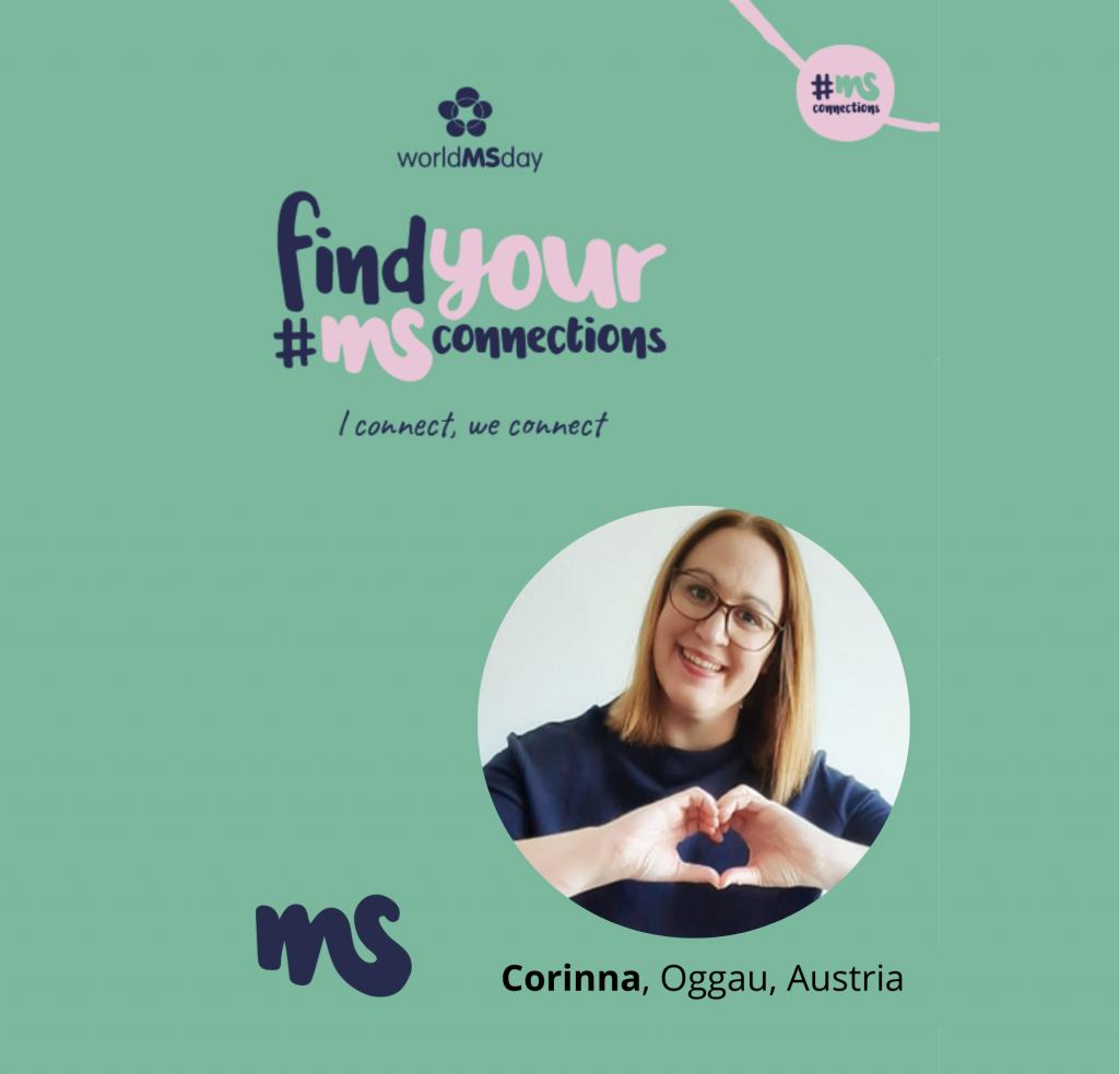 hellgrünes Rechteck mit Bild von Corinna, Oggau, Austria, Text: find your #MSConnections