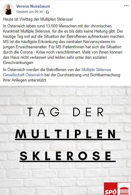 Nationalratsabgeordnete Verena Nussbaum, SPÖ-Bereichsprecherin für Menschen mit Behinderungen, macht auf den Welt-MS-Tag aufmerksam. Screenshot Facebook