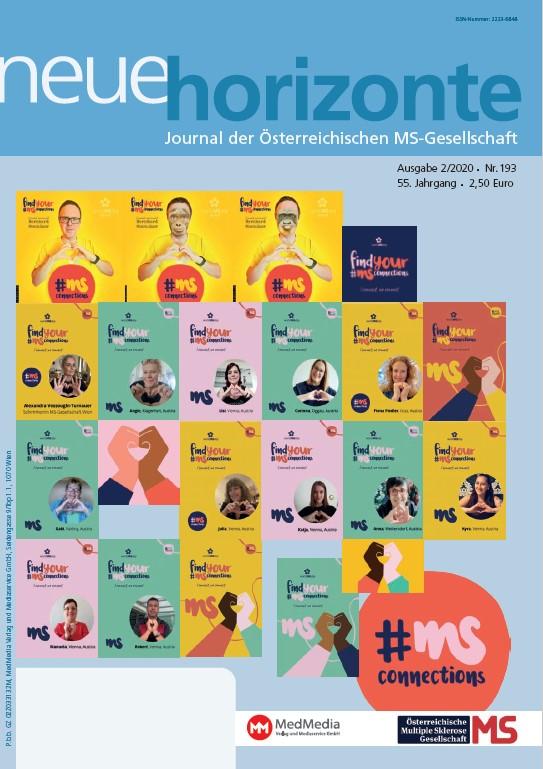 """Neue Horizonte 2/2020, Journal der Österreichischen Multiple Sklerose Gesellschaft. Inhalt: Welt-MS-Tag 2020: #MiteinanderStark (von Kerstin Huber-Eibl), Welt-MS-Tag: Projekt MS-Awareness und -Fundraising an der FH Joanneum (von Katrin Jurkowitsch), """"Österreichische Multiple Sklerose Bibliothek"""" (ÖMSB), (von Kerstin Huber-Eibl), SHG Kunterbunt, """"Carpe diem"""" (von Prim. Dr. Wolfgang Kubik), Barrierefrei unterwegs im Gesäuse (von Mag. Karin Chladek), MS-Benefizwalk Bad Erlach (von Kerstin Huber-Eibl), Neuer Online-Auftritt der ÖMSG (von Kerstin HUber-Eibl), Promotion ohne Limit (von Kerstin Huber-Eibl), icompanion: App für Menschen mit Multipler Sklerose (von Kerstin HUber-Eibl), Mehr als 1 Mio. MS-Betroffene in Europa (von Kerstin Huber-Eibl), MS-Clubs und -Selbsthilfegruppen"""