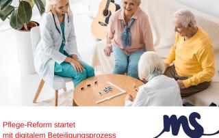 Pflegeperson und ältere Menschen spielen Domino, Text: Pflege-Reform startet mit digitalem Beteiligungsprozess