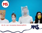 Menscchen mit Masken, Text: Ab 24. Juli verstärkte Maskenpflicht Foto: Canva