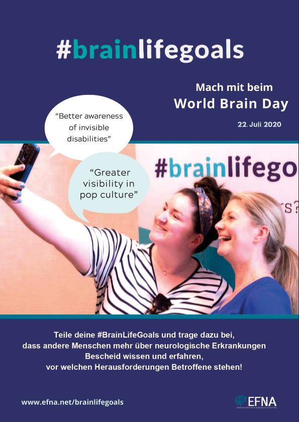 #BrainLifeGoals Plakat, Credit: EFNA, deutsche Adaption: ÖMSG/Kerstin Huber-Eibl