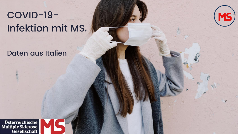 Bild: junge Frau mit Maske. Text: COVID-19-Infektion mit MS. Daten aus Italien. Credit: Canva
