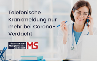 Bild_ telefonierende Ärztin. Text: Telefonische Krankmeldung nur mehr bei Corona-Verdacht. Credit: Canva