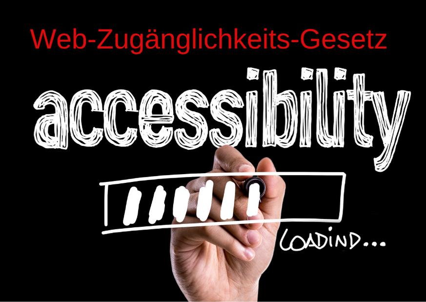 """schwarzes Rechteck, Bild mit Hand, die einen Ladebalken unter dem Schriftzug """"Accessibility"""" zeigt. Text: Web-Zugänglichkeits-Gesetz, Credit: Canva"""