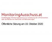 Text: MonitoringAusschuss.at. Öffentliche Sitzung am 19. Oktober 2020