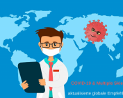 Weltkarte mit Arzt und Coronavirus. Credit: Canva