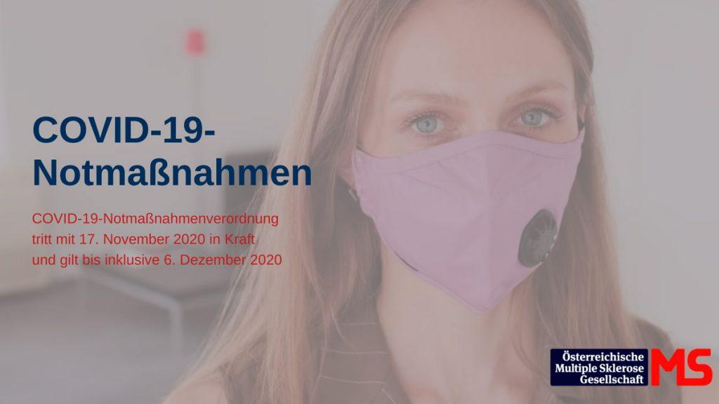 Frau mit Maske. Text: COVID-19-Notmaßnahmenverordnung tritt mit 17. November 2020 in Kraft und gilt bis inklusive 6. Dezember 2020. Credit: Canva