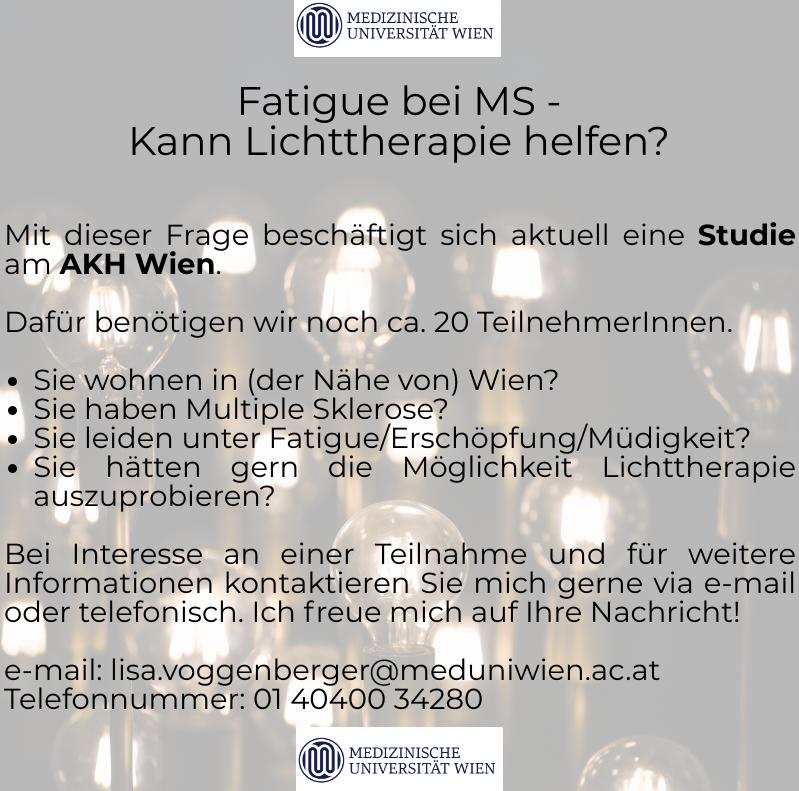 Fatigue, Tagesschläfrigkeit und Schlafstörungen bei Multipler Sklerose (MS) und Lichttherapie als Behandlungsmethode