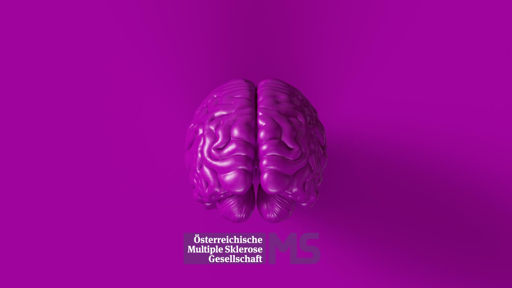 lila Hintergrund mit Gehirn und Logo ÖMSG, Credit: Canva