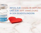 Covid-19-Impfung und Text: Infos zur COVID-19-Impfung und ZUR IMPF-Anmeldung in den Bundesländern. Credit: Canva