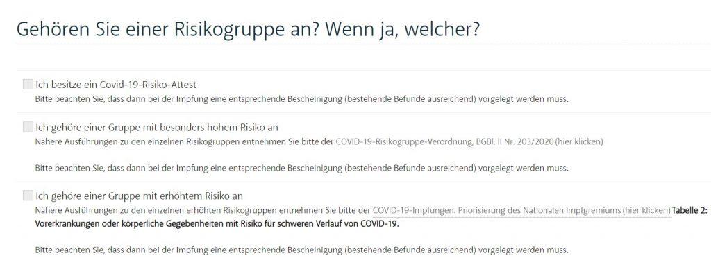 Screenshot Impf-Anmeldung Tirol