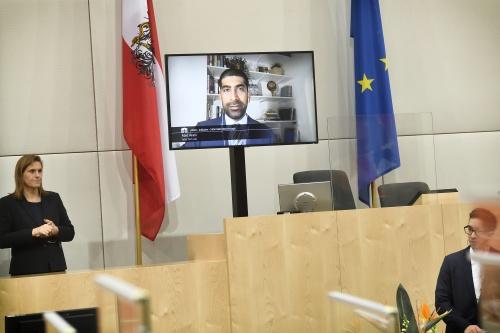 Live zugeschalten: Abid Virani. © Parlamentsdirektion / Johannes Zinner