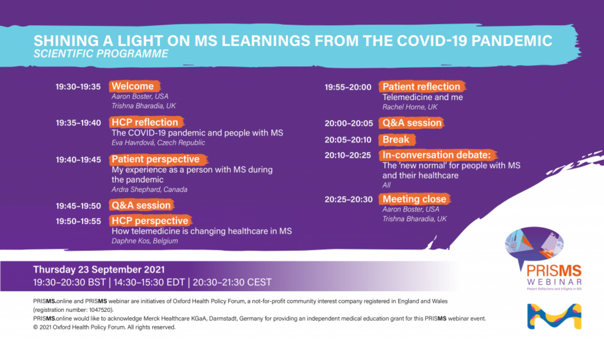 PRISMS Webinar 'Shining a light on MS learnings from the COVID-19 pandemic'